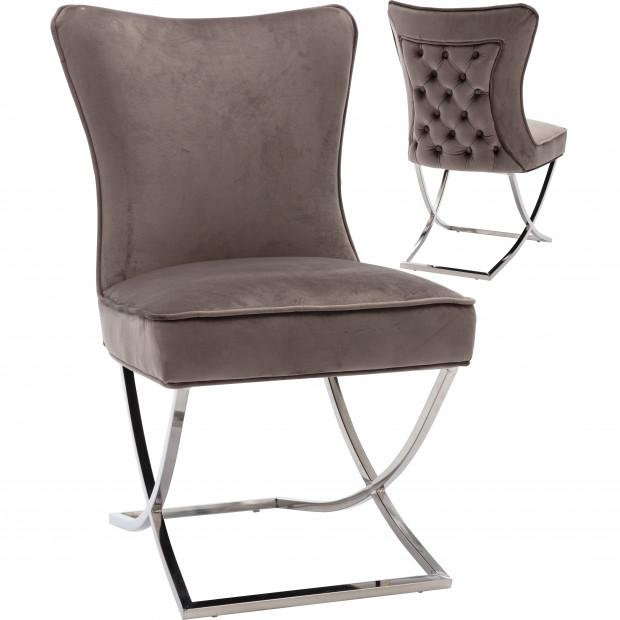 Chaise de salle à manger design avec capitonnage à l'arrière revêtement en velours marron et piètement croisée en acier inoxydable argenté collection CAVALLI