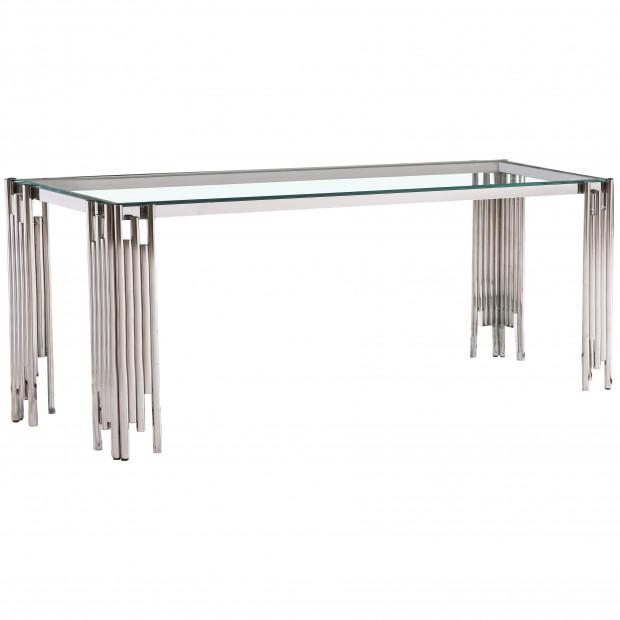 Table de salle à manger design piètement en acier inoxydable poli argenté et plateau en verre trempé transparent L. 180 x P. 90 x H. 76 cm collection MILANO