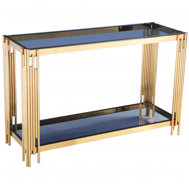 Console design en acier doré avec plateau en verre noir collection MILANO L. 120 x P. 40 x H. 78 cm