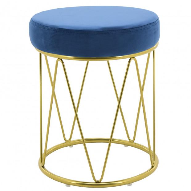 Pouf design revêtement velours bleu royal avec piètement en acier doré collection PUFFY L. 35 x H. 44 cm