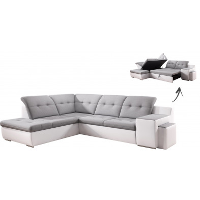 Canapés d'angle blanc design en bois massif 6 places L. 248-230 x P. 100-100 x H. 79-87 cm collection Duddleswell