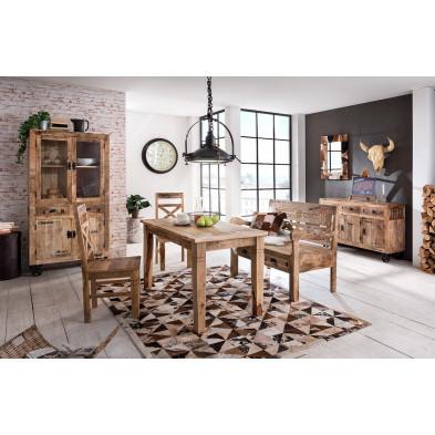 Composition salle à manger complète style rustique campagnard coloris marron collection Ronse