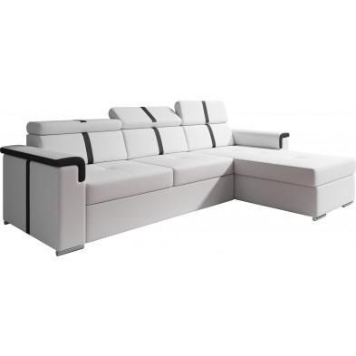 Canapés d'angle convertibles blanc design en pvc 3 places L. 277-165 x P. 86 x H. 90-105 cm collection TIAGO