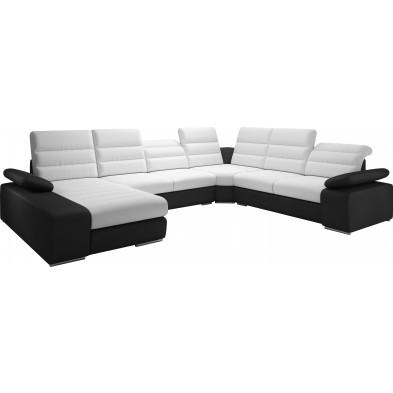 Canapés d'angle blanc design en polyester 6 places L. 360-287-183 x P. 95-110 x H. 86-100 cm collection Aljaraque