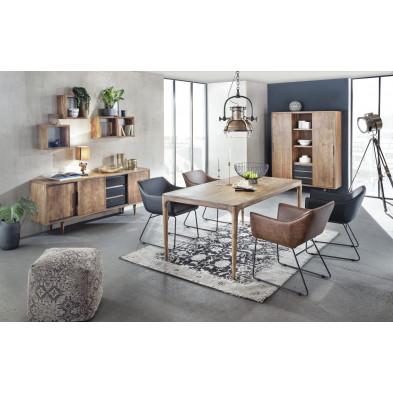 Composition salle à manger complète style rustique industriel coloris marron collection Stockman