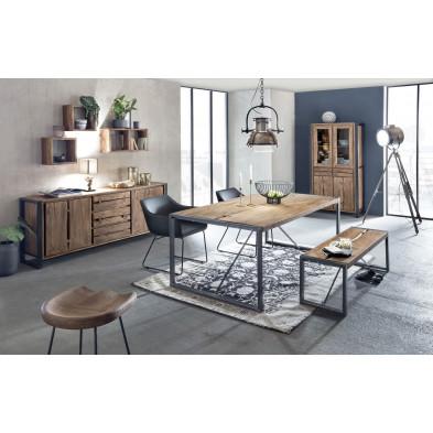Composition salle à manger complète style rustique industriel coloris marron collection Castanoprimo