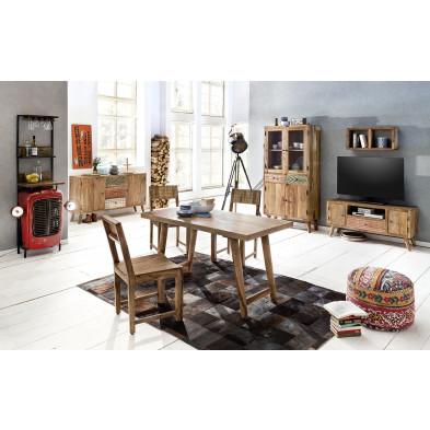 Composition salle à manger complète style scandinave vintage coloris marron collection Ordona