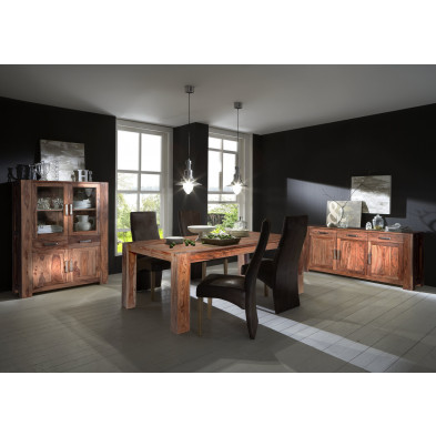 Composition salle à manger complète style rustique campagnard coloris marron collection Limping