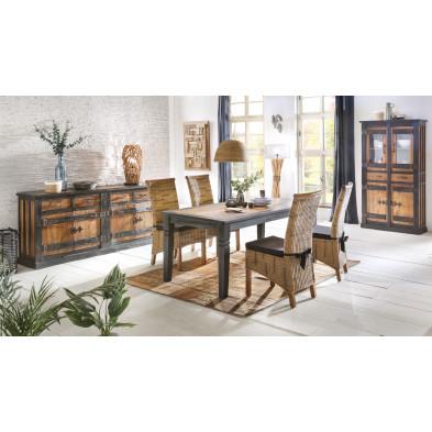 Composition salle à manger complète style rustique coloris marron collection Wesly