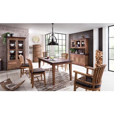 Composition salle à manger complète style rustique campagnard coloris marron collection Jemima
