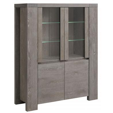 Argentier - vaisselier - vitrine contemporain gris en bois massif  L. 126 x P. 44 x H. 158 cm Collection Vanderhave