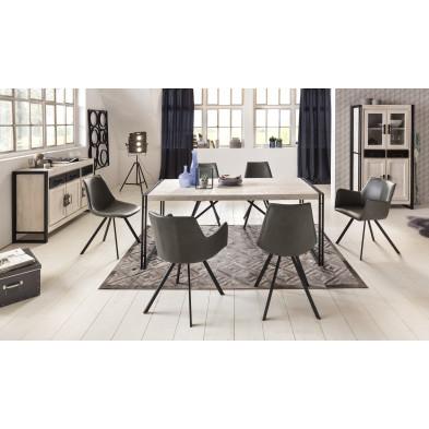 Composition salle à manger complète style rustique industriel coloris blanchis collection Johnsonville