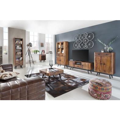 Composition salle à manger complète style rustique coloris marron collection Remain