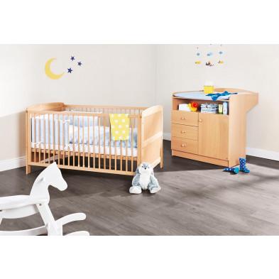 Pack chambre bébé marron design en bois massif hêtre collection Partake