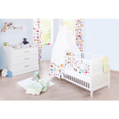 Pack chambre bébé blanc design en bois massif collection Mouth