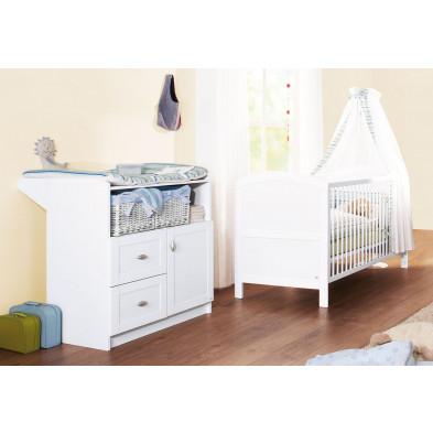 Pack chambre bébé blanc design en bois massif collection Klos