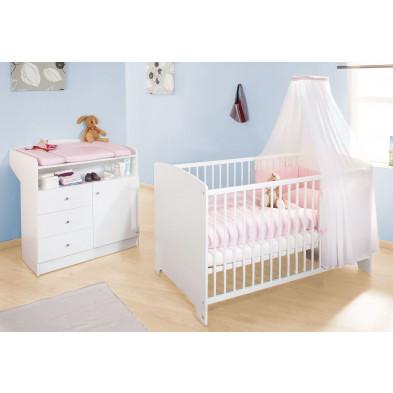 Pack chambre bébé blanc design en bois massif collection Maarleveld