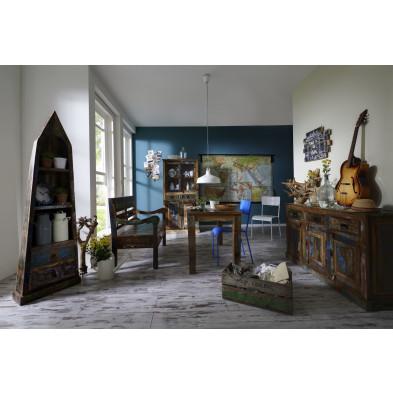 Composition salle à manger complète style vintage coloris variés collection Aduna