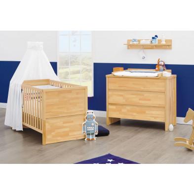 Pack chambre bébé beige design en bois massif hêtre collection Ippel