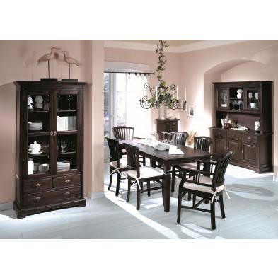 Composition salle à manger complète style rustique campagnard coloris marron collection Asmaa