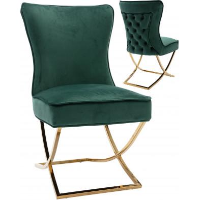 Chaise de salle à manger design avec capitonnage à l'arrière revêtement en velours vert et piètement croisée en acier inoxydable doré collection CAVALLI