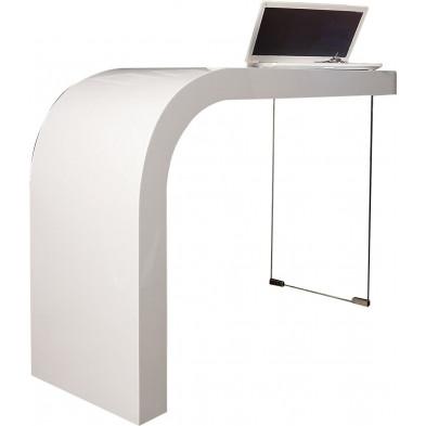 Bureau ultra design coloris blanc laqué et paroi en verre L. 120 x P. 40 x H. 75 cm collection Bengate