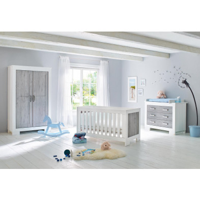 Composition chambre bébé design en MDF coloris gris et blanc  collection
