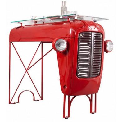 Table de bar en verre  avec calandre tracteur vintage coloris rouge L. 120 x P. 85 x H. 110 cm collection Spijkerboer
