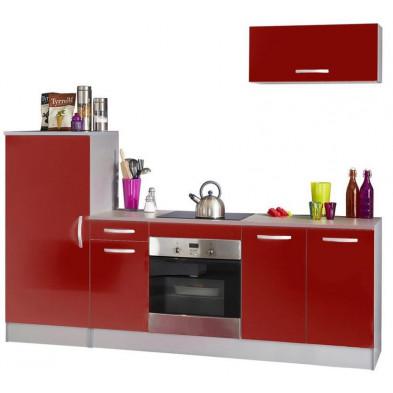 Ensemble cuisine moderne coloris rouge laqué L. 240 x P. 60 x H. 85 cm collection Bradenton