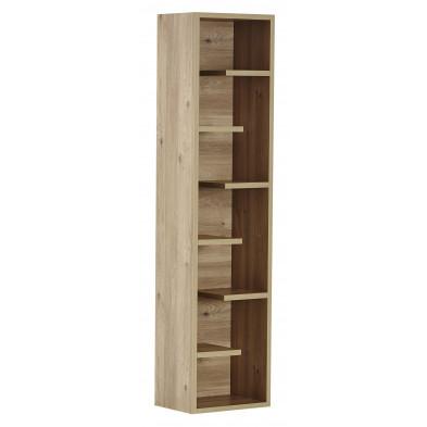 Bibliothèque avec 6 étagères coloris chêne en Bois MDF et panneaux de particules de haute qualité L. 45 x P. 32 x H. 185 cm collection Kastermans