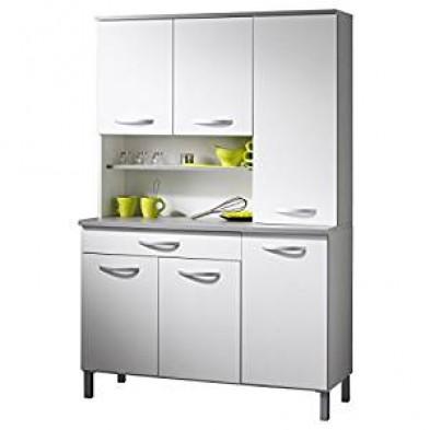 Buffet & vaisselier moderne blanc en panneaux de particules mélaminés de haute qualité  L. 101 x P. 42 x H. 184 cm Collection Colton