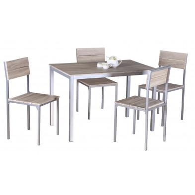 Ensembles tables & chaises marron design en panneaux de particules collection Lorrainville