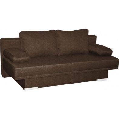 Canapé lit marron design en bois massif 2 places collection Leirinhas