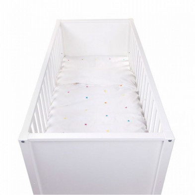 Housse de couette et drap d'oreiller design blanc 100% coton L. 140 x P. 100 cm Collection Shediac