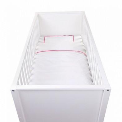 Housse de couette et drap d'oreiller design coloris blanc avec des broderies roses sur les côtés 100% coton L. 140 x P. 100 cm Collection Indira
