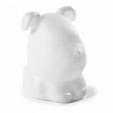 Lampe de chevet LED rechargeable  sous forme d'un petit chien coloris blanc L. 27 x P. 27 x H. 35 cm collection Mathilde