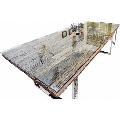 Plateau en verre trempé design transparent 203x100 cm pour table de salle à manger collection