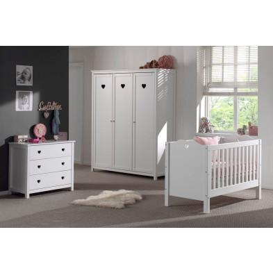 Packs chambre bébé blanc romantique en bois mdf collection Herveld