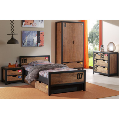 Ensemble 5 pièces pour chambre moderne avec lit 90x200cm, chevet, tiroir-lit, commode et armoire 2p coloris brun et noir collection Scharnhorst