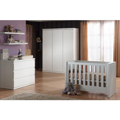 Packs chambre bébé blanc design en bois mdf collection Klasen