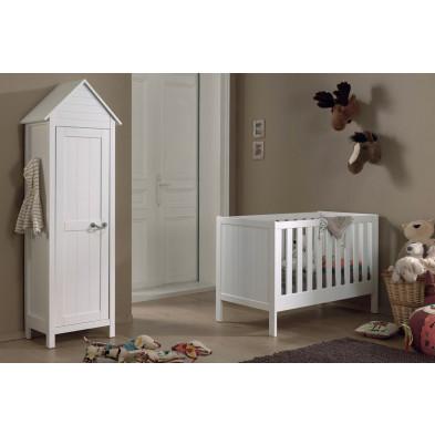 Packs chambre bébé blanc design en bois massif pin 90 x 200 cm collection Boles