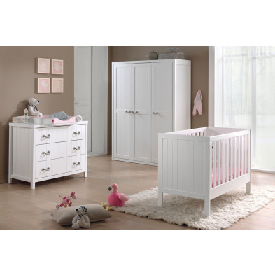 Packs chambre bébé blanc design en bois massif pin collection Boles