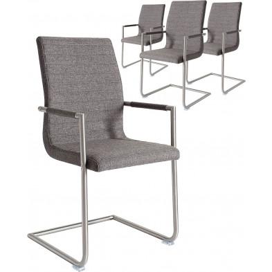 Lot de 4 chaises design en tissu coloris gris avec accoudoirs L. 50 x P. 60 x H. 100 cm collection Arabella