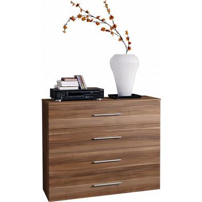 Commode 4 tiroirs en panneaux de particules coloris brun L. 100 x P. 40 x H. 83 cm collection Derick
