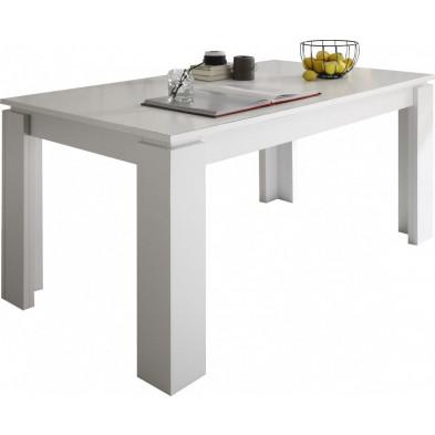 Table à manger extensible coloris blanc L. 160/200 x P. 90 x H. 77 cm collection Douai