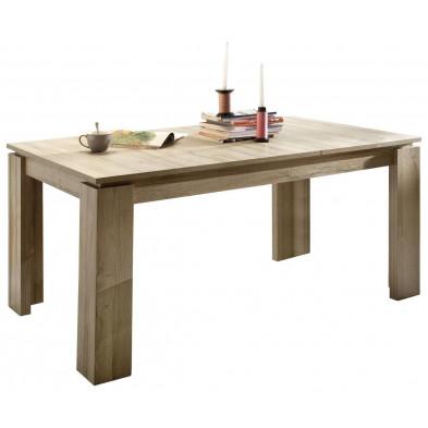 Table à manger en Panneaux de particules mélaminés de haute qualité  extensible coloris chêne rustique L. 160/200 x P. 90 x H. 77 cm collection Douai