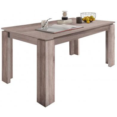 Table à manger extensible en Panneaux de particules mélaminés de haute qualité  coloris chêne San Remo sable L. 160/200 x P. 90 x H. 77 cm collection Douai
