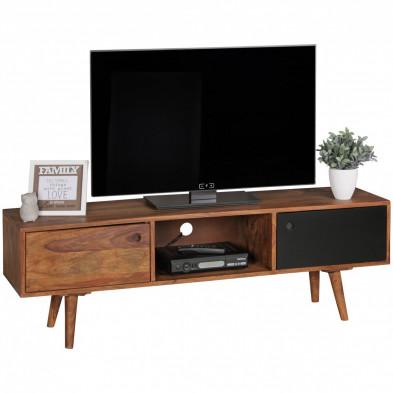 Meuble tv marron contemporain en bois massif L. 140 x P. 35 x H. 45 cm collection Seck