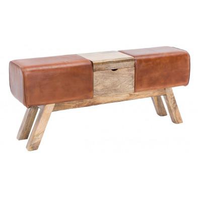 Pouf et tabouret marron design en cuir véritable 2 places 120 cm de largeur L. 120 x P. 29 x H. 53 cm collection Oombergen