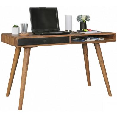 Bureau contemporain marron scandinave en bois massif L. 120 x P. 60 x H. 75 cm collection Seck